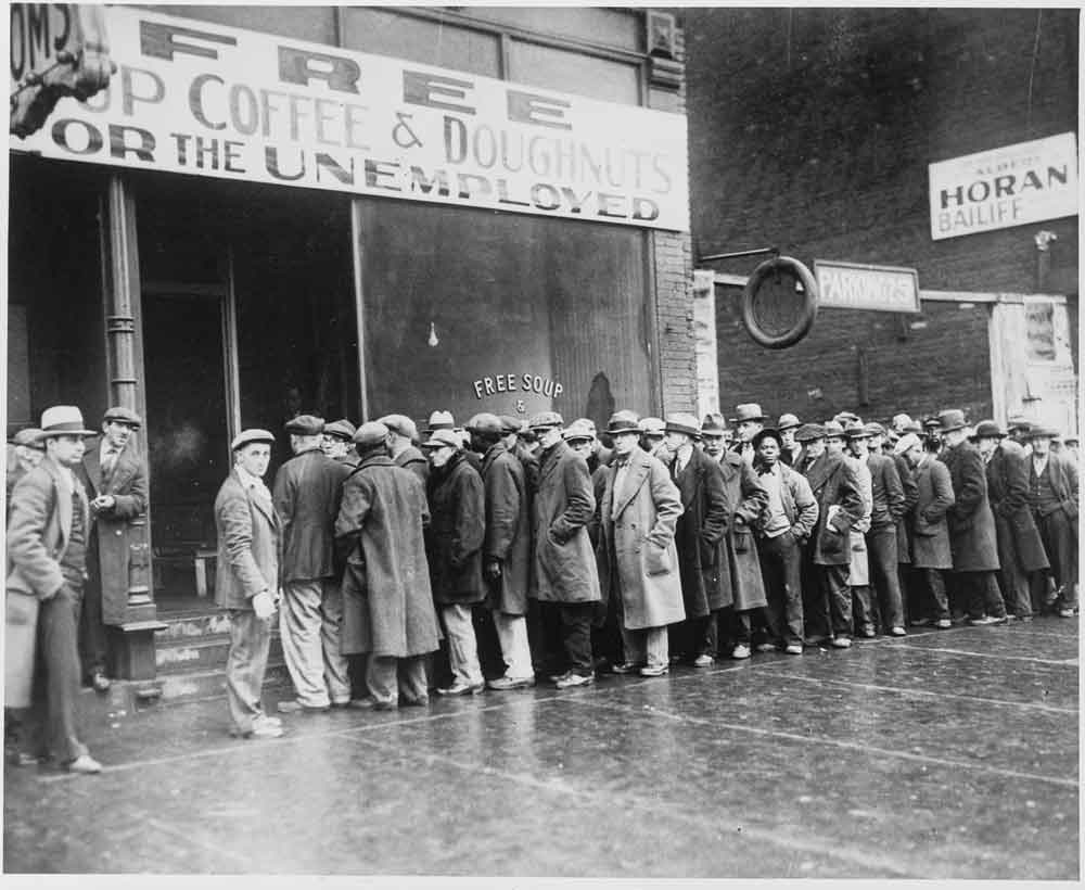 Wielki Kryzys (ang. Great Depression) z lat trzydziestych - bezrobotni w Chicago