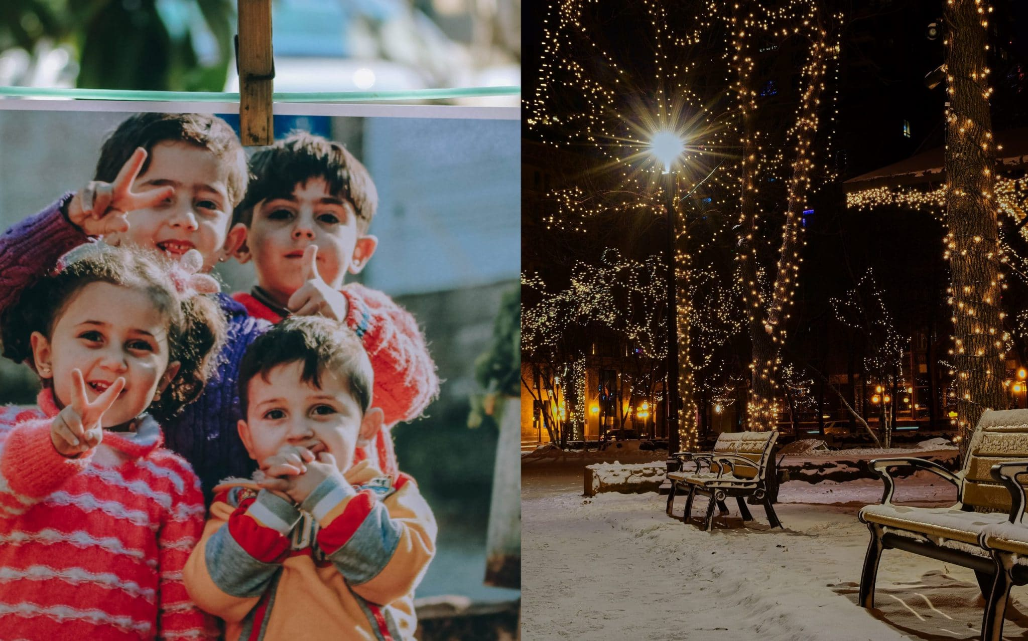 Święta - hipokryzja świąt. Ilustracja: syryjskie dzieci zestawione z oświetleniem parku