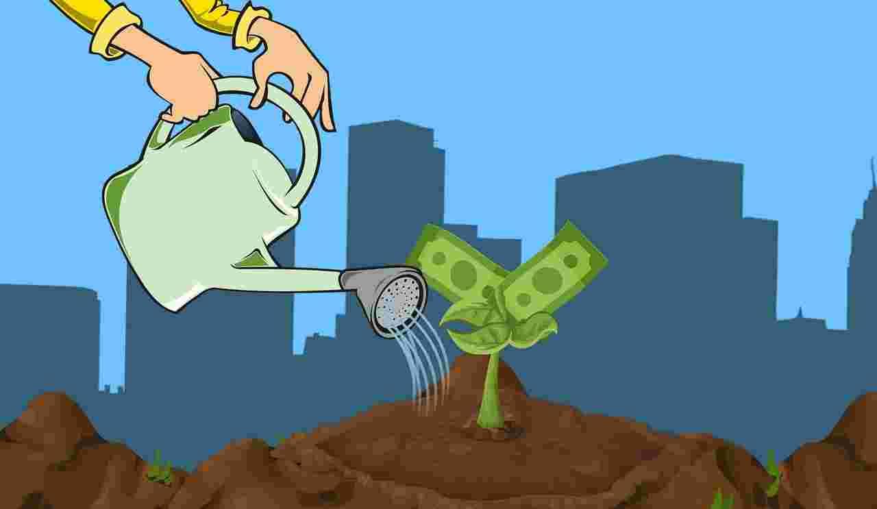 Inwestowanie - ilustracja. Podlewanie konewką roślinki, z której wyrastają pieniądze