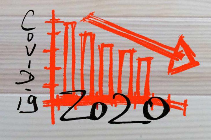 Jak ograniczyć wydatki? Ilustracja: Napis Covid-19 2020 i wykres pokazujący spadki