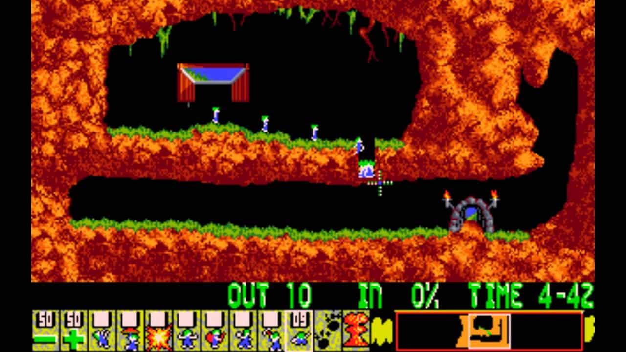 """Level 1 w grze """"Lemmings"""""""